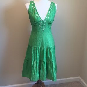 Liz Minnelli Green Embellished Tiered Sundress M